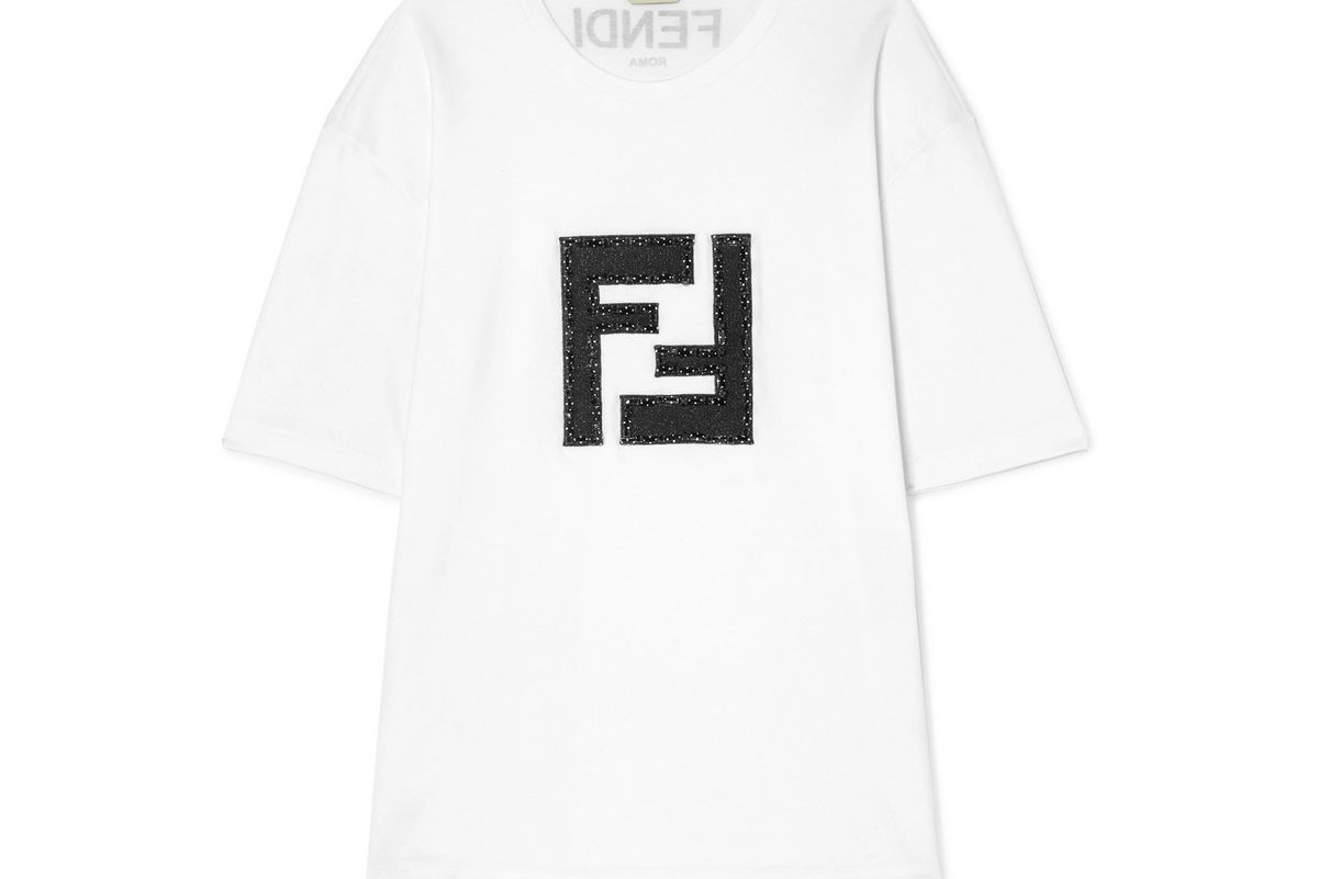 fendi embellished lame and stretch cotton jersey t shirt