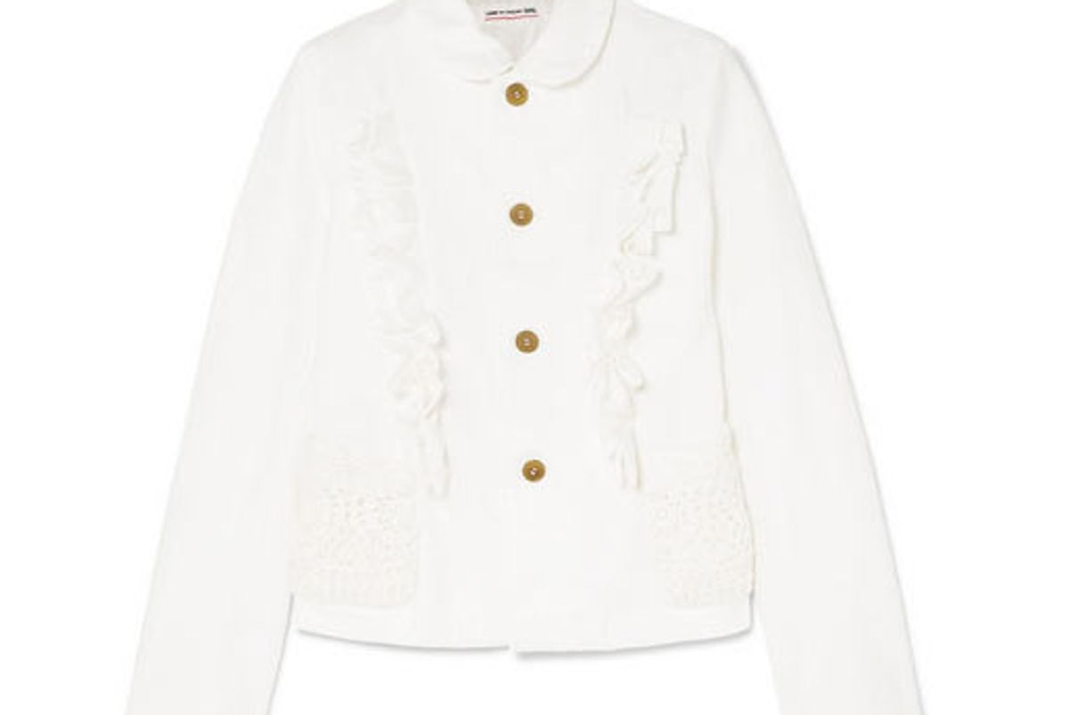 comme des garcons girl ruffled crocheted-trimmed twill jacket