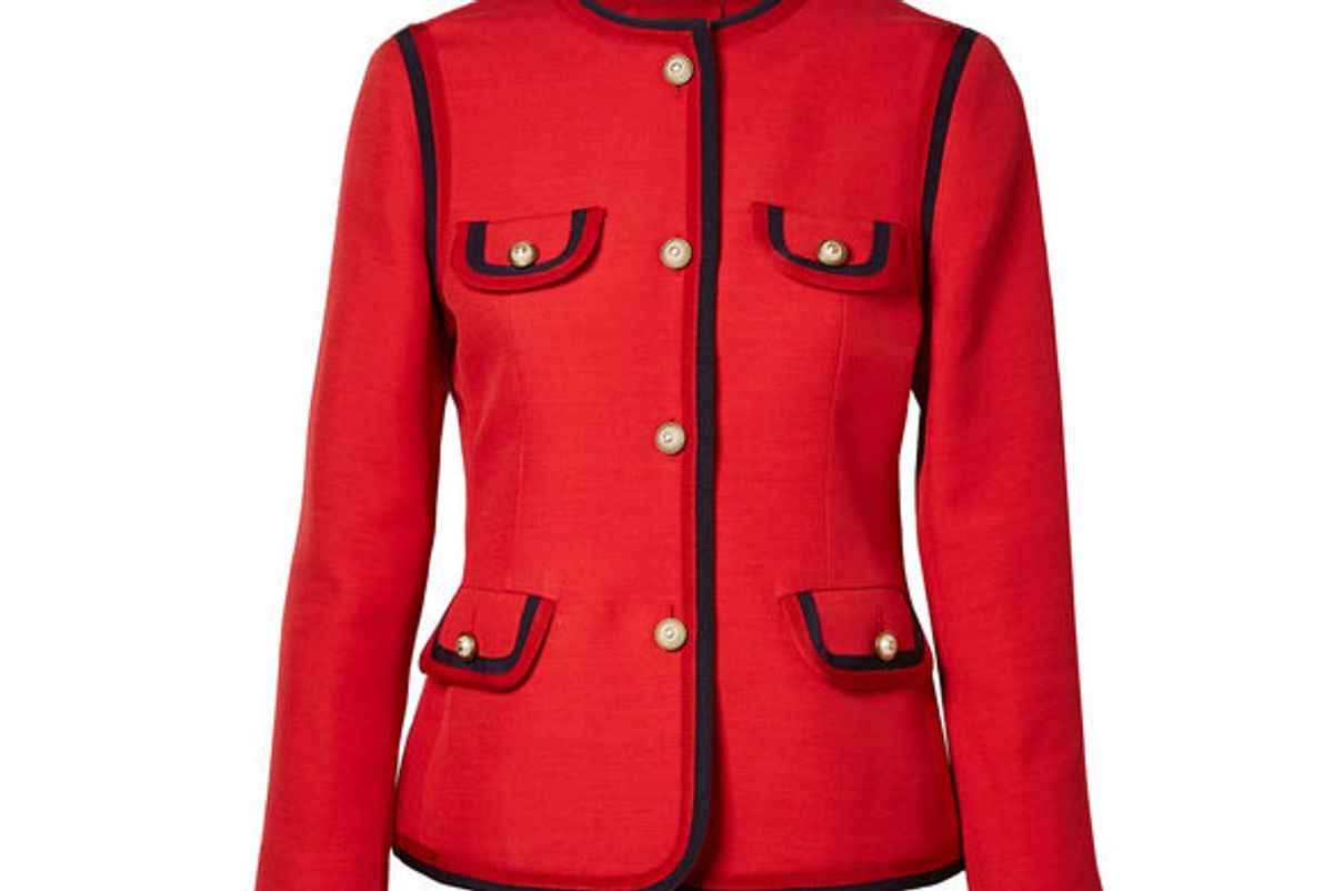 gucci faux pearl-embellished wool and silk-blend jacket