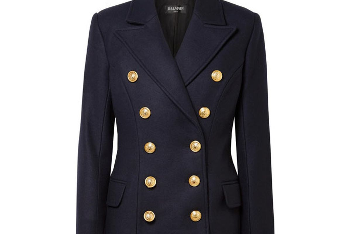 balmain double-breasted wool and cashmere blend coat