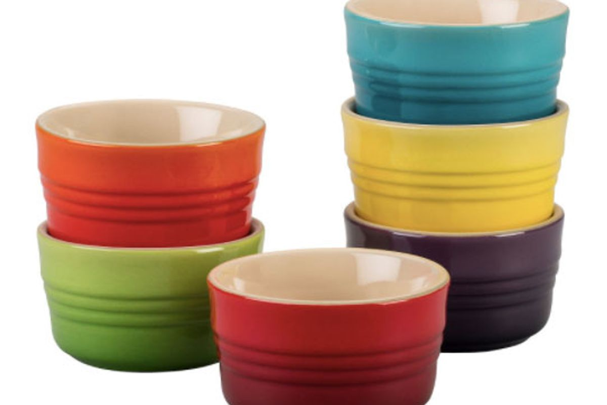 le creuset rainbow collection mini rameskins set of 6