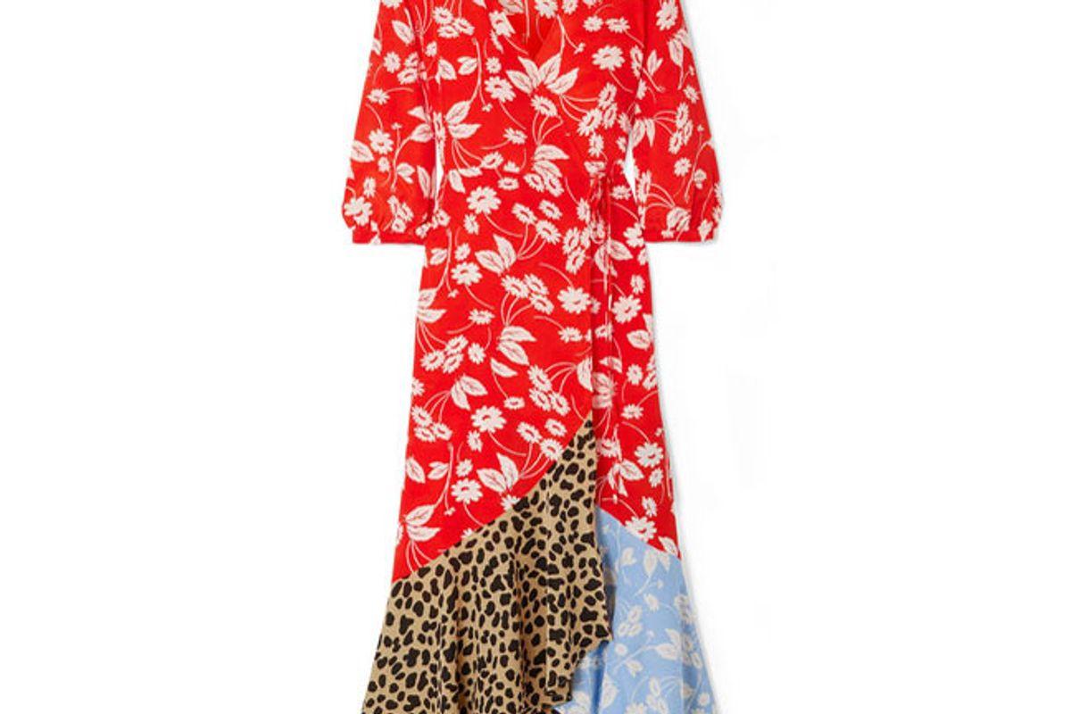 rixo london noleen paneled printed silk-crepe wrap dress