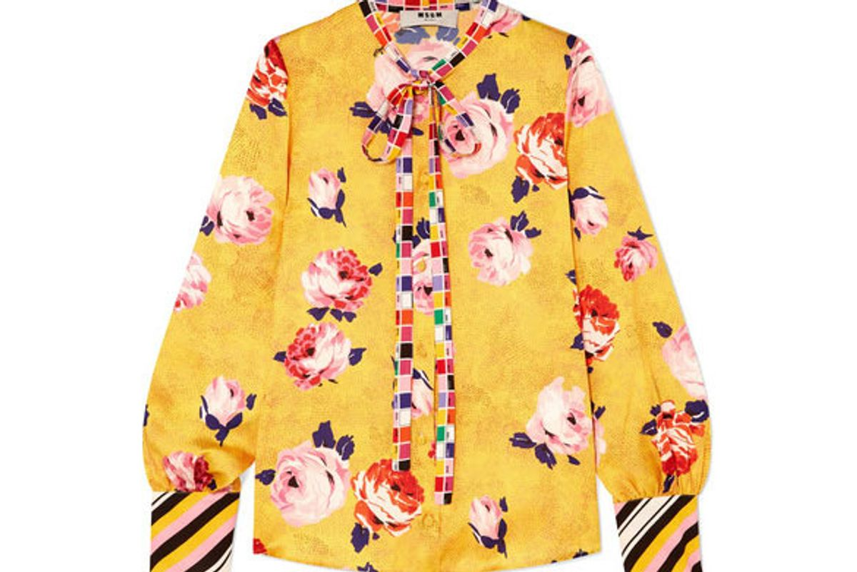 msgm floral-print satin blouse