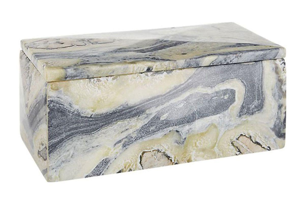 cb2 aspect grey marble box