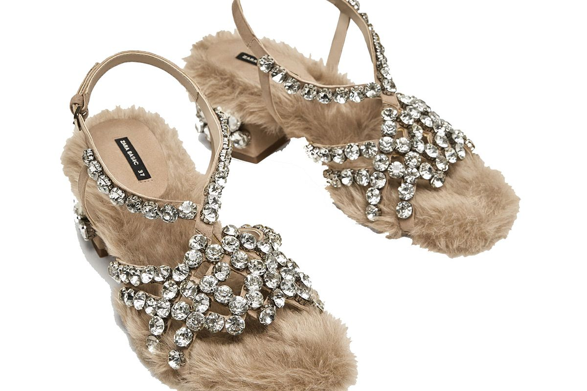 Faux Fur High Heel Sandals with Beads