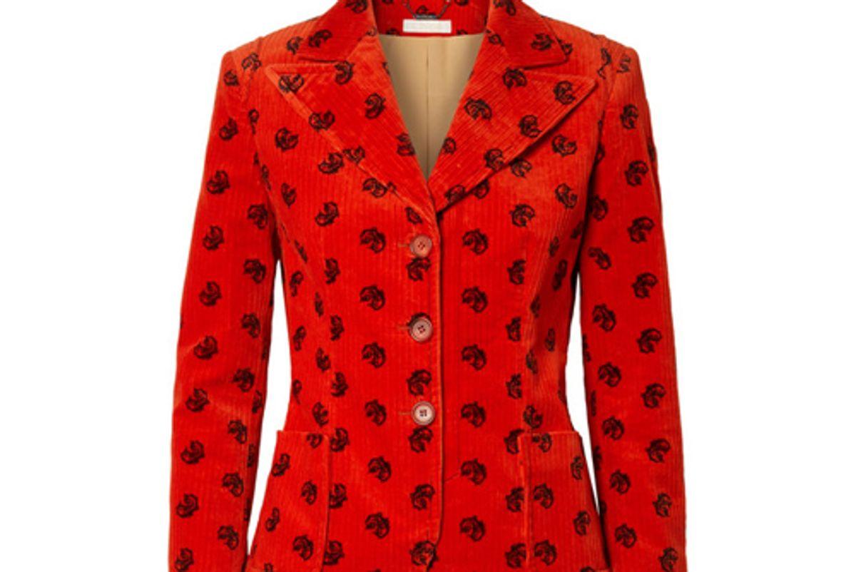 chole printed cotton blend corduroy blazer