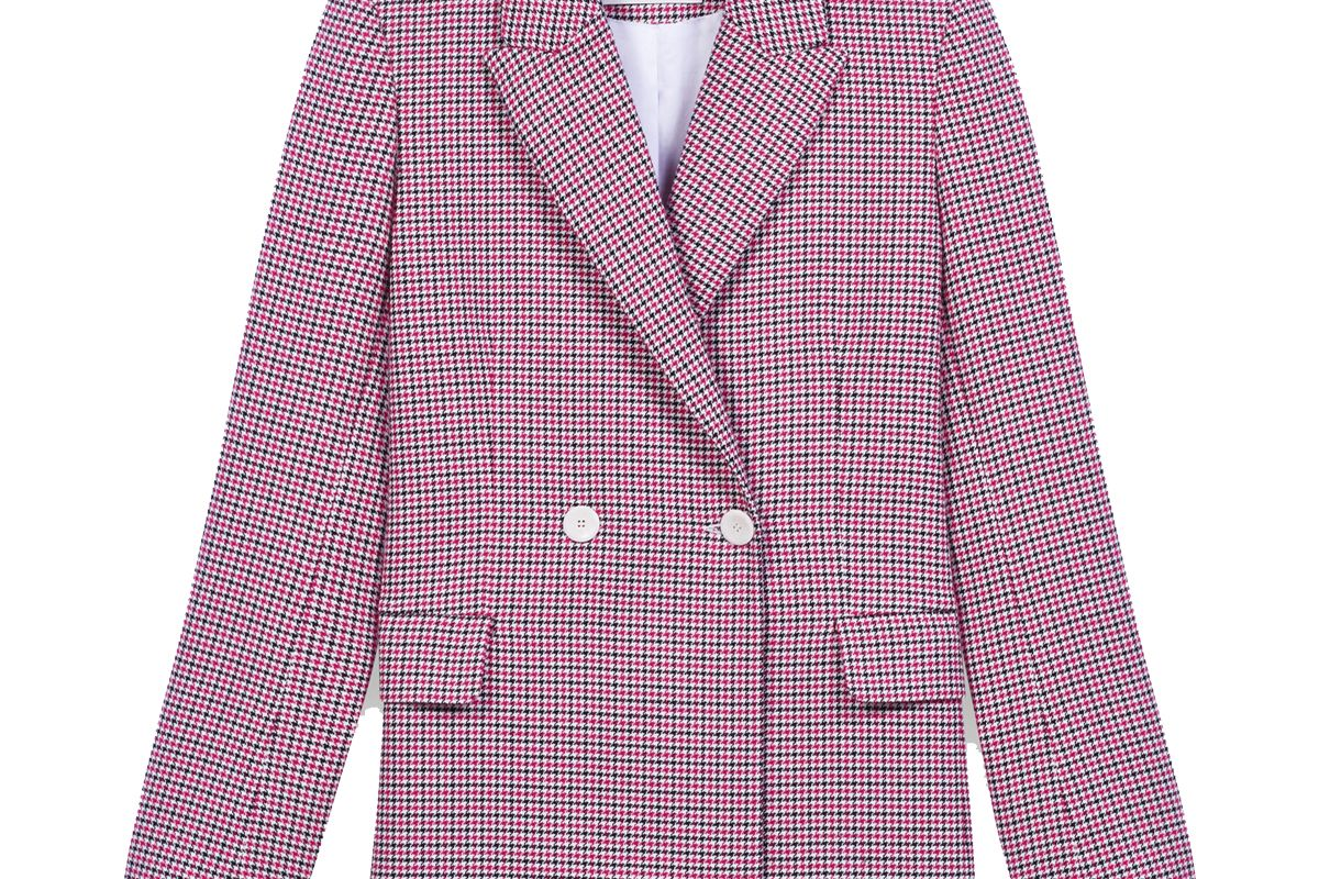 maje checked straight double breasted jacket