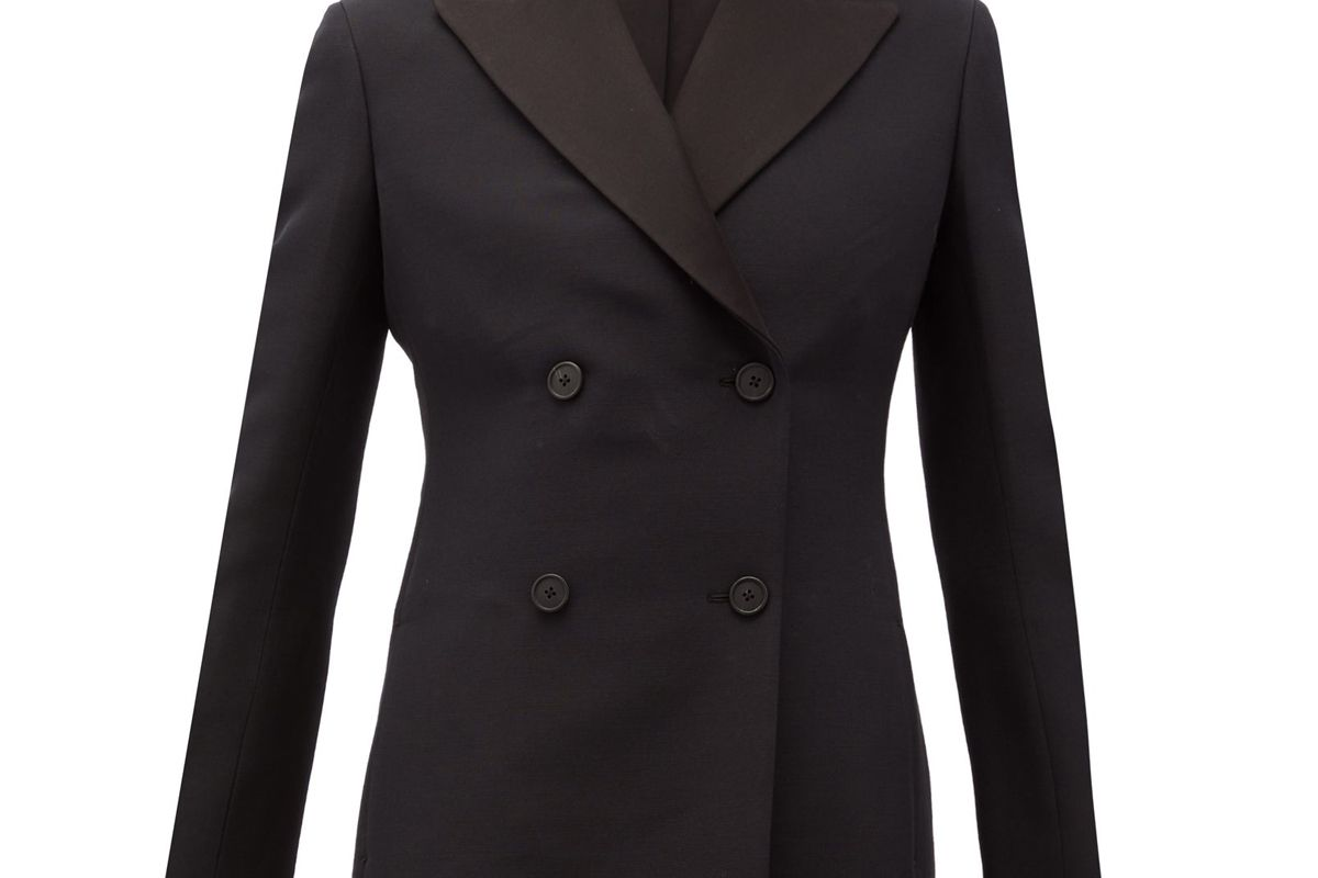the row zori double breasted wool blend faille jacket
