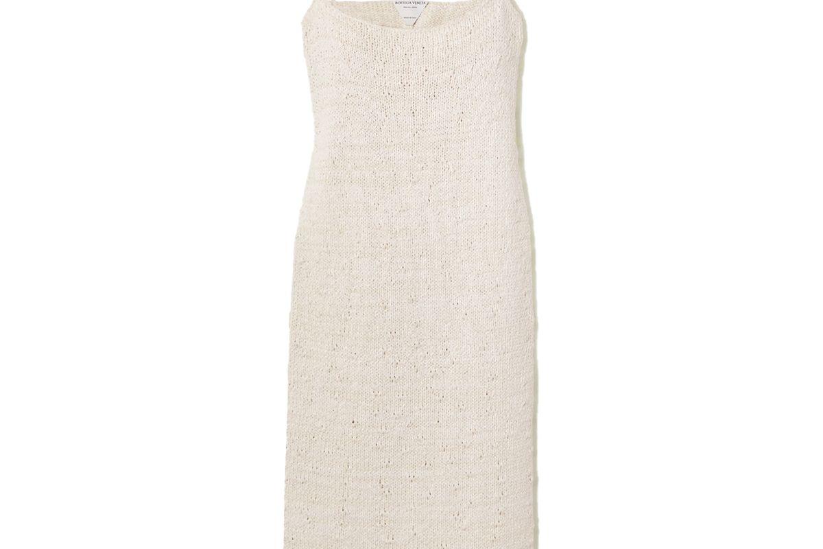 bottega veneta cotton blend midi dress