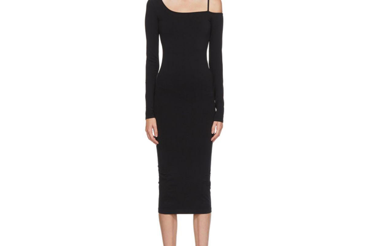 helmut lang black one shoulder dress