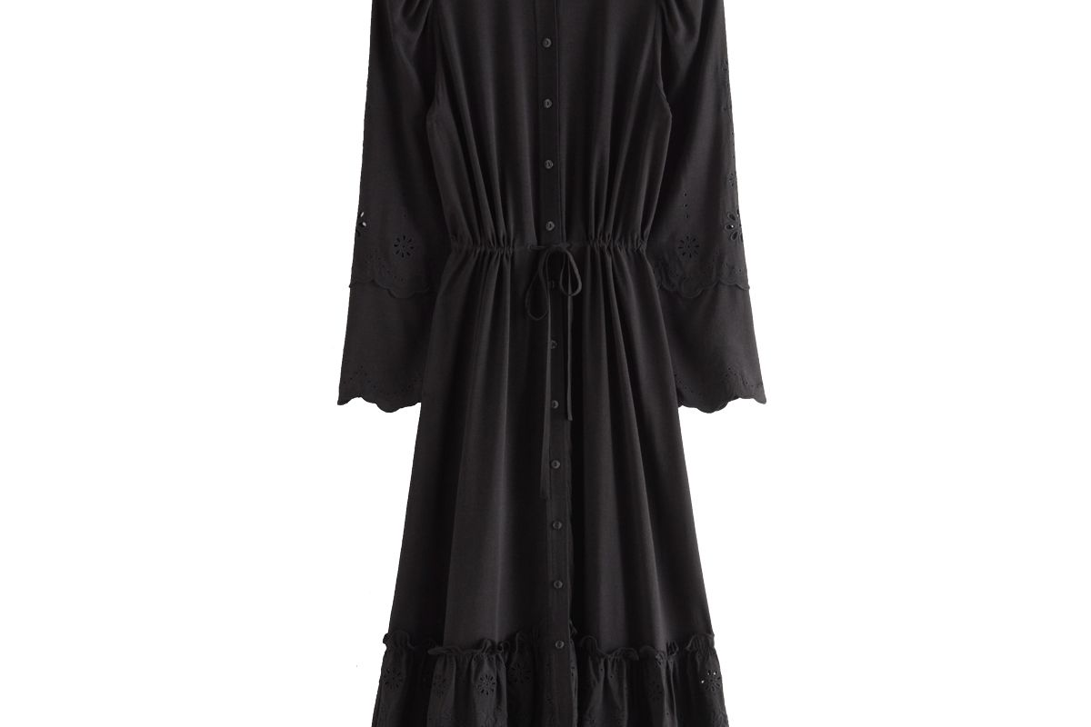 and other stories embroidered button up scallop midi dress