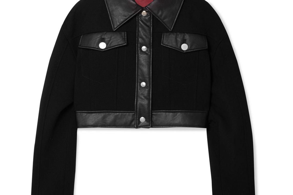 sara battaglia cropped faux leather trimmed wool crepe jacket