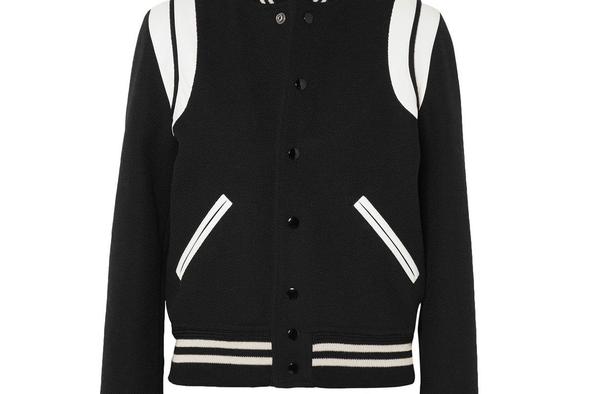 saint laurent teddy leather trimmed wool blend bomber jacket