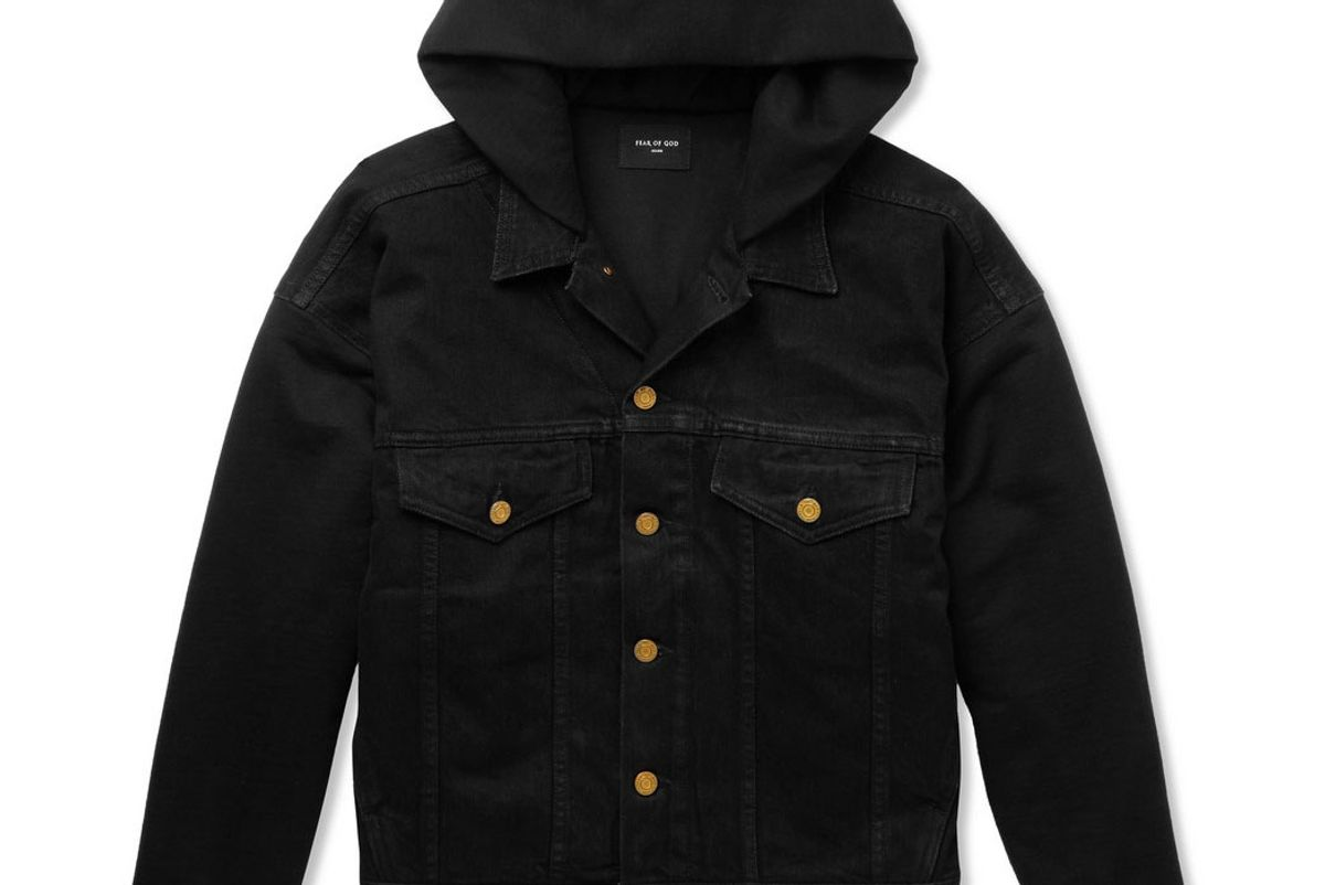 fear of god stretch denim and cotton jersey hooded trucker jacket