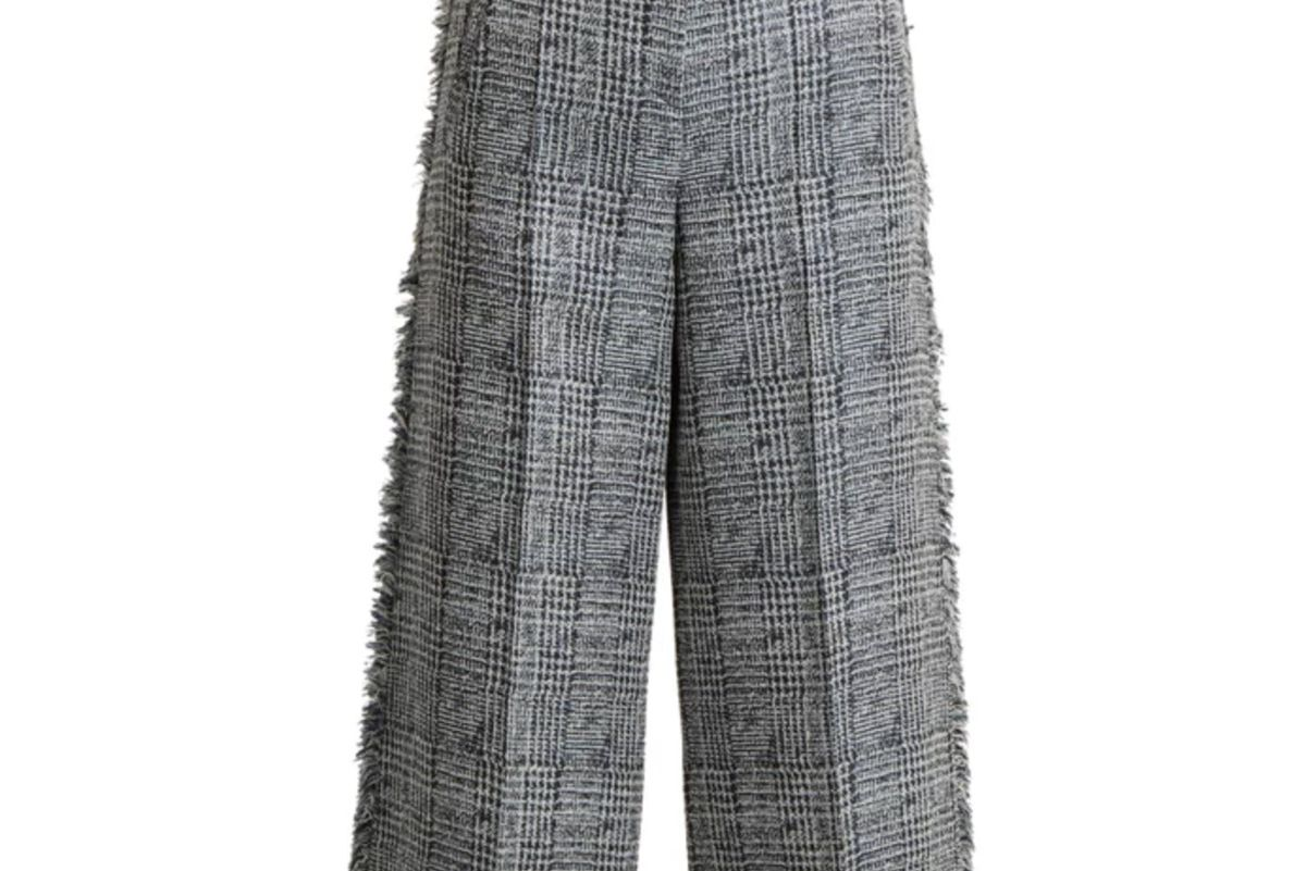 erdem beth checked frayed edged cropped trousers