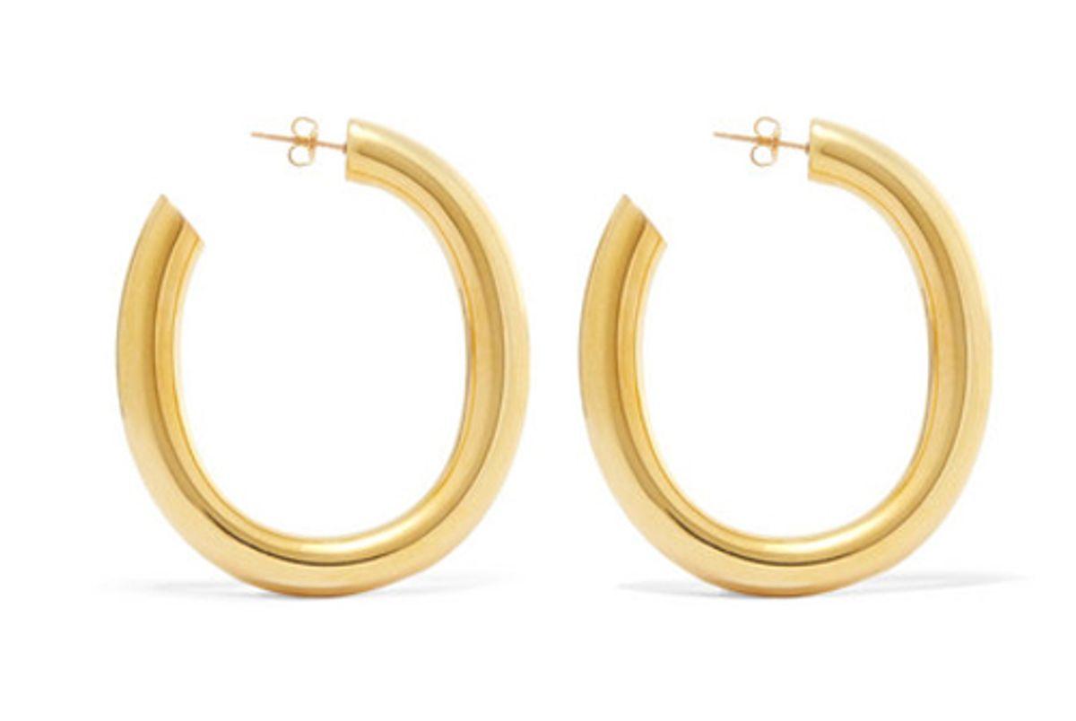 laura lombardi curve gold tone hoop earrings