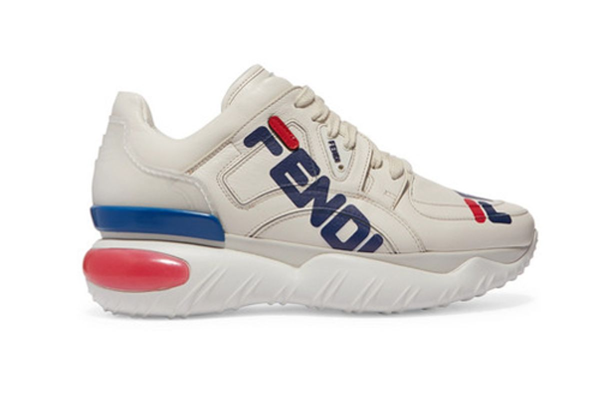 fendi logo print leather and rubber sneakers