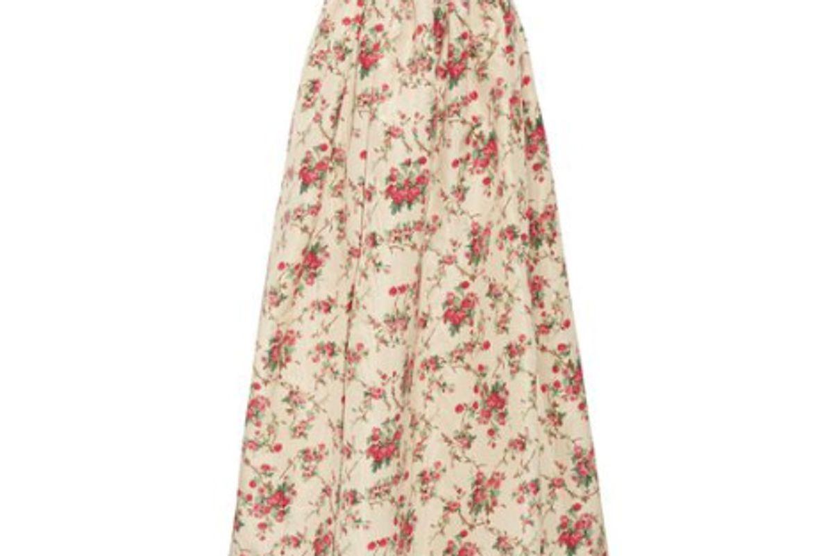 miu miu floral print silk faille maxi skirt