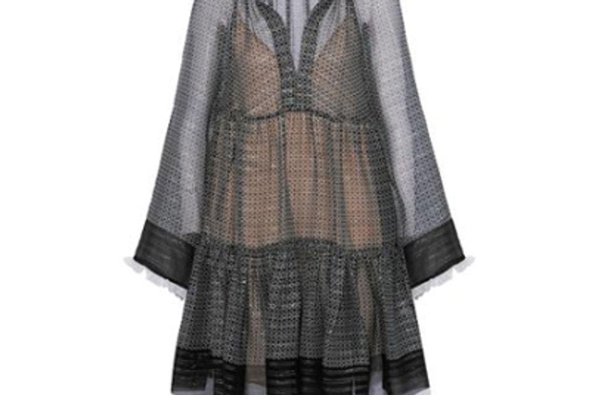 stella mccartney metallic silk blend chiffon mini dress