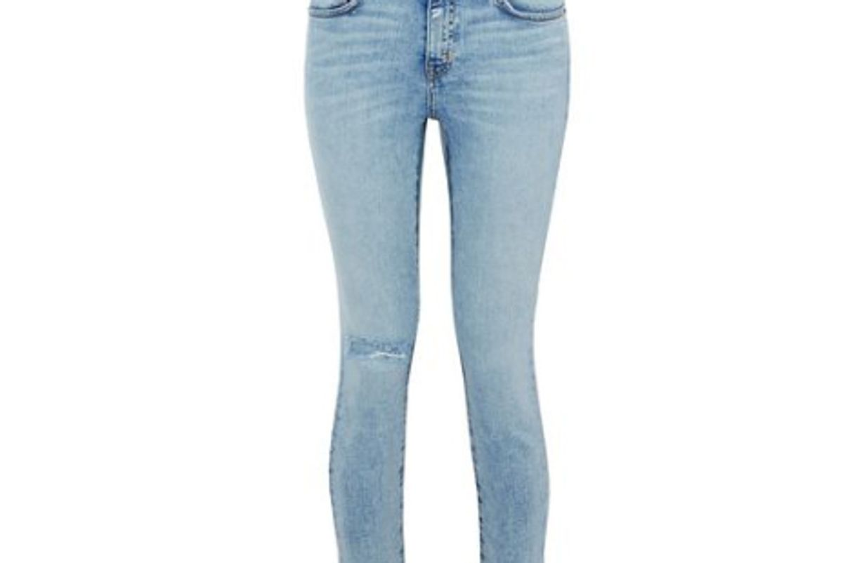 current elliot distressed metallic coated mid rise skinny jeans