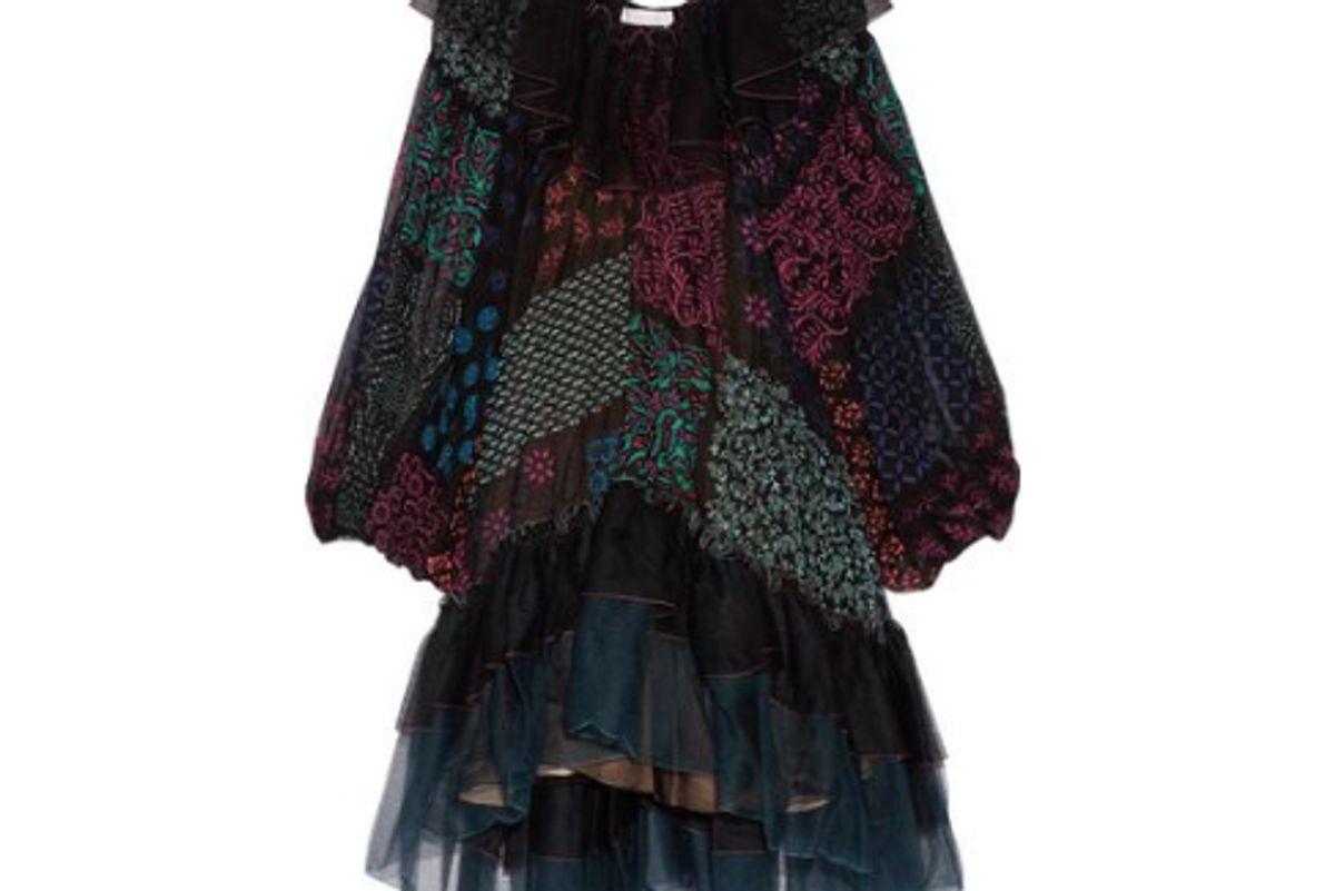 chloe ruffled tulle and-printed silk georgette dress