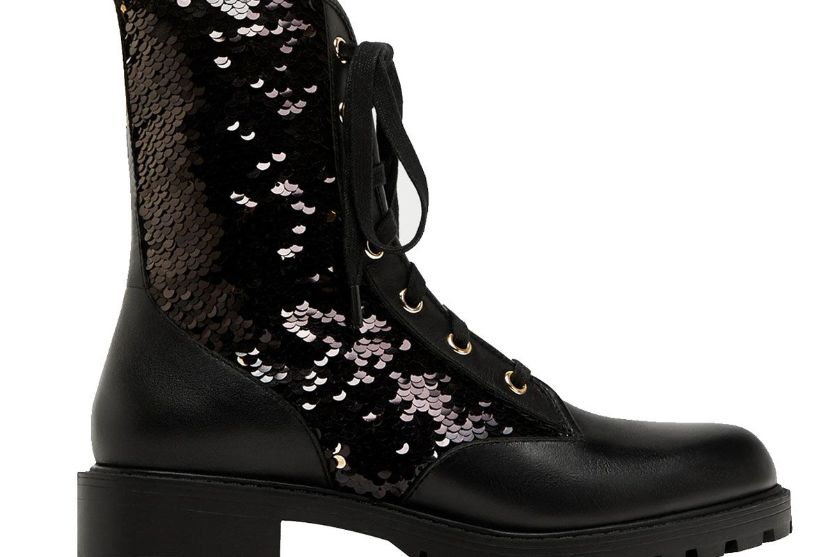 Sequinned Lace-Up Ankle Boots