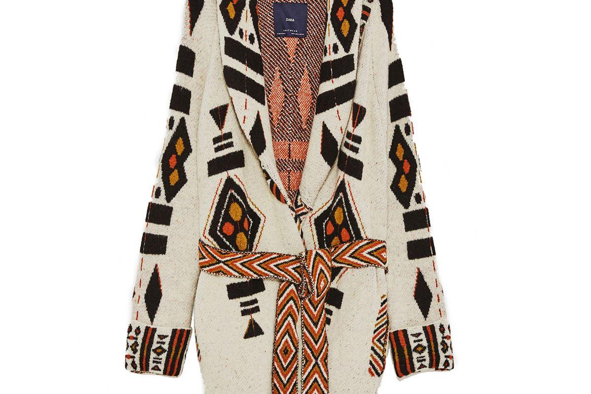 Jacquard Coat with Belt