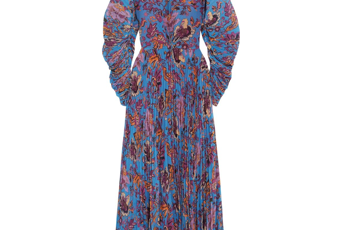 Printed Plissé-Georgette Maxi Dress