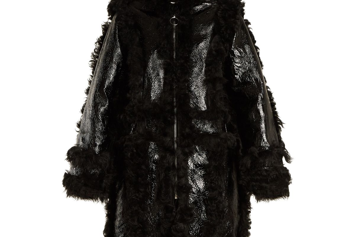 Shearling-Trimmed Grained Leather Coat