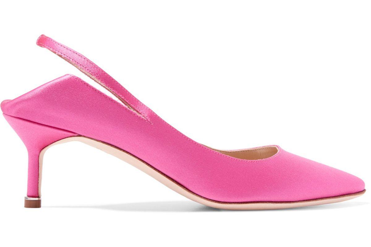 Satin Slingback Pumps in Pink