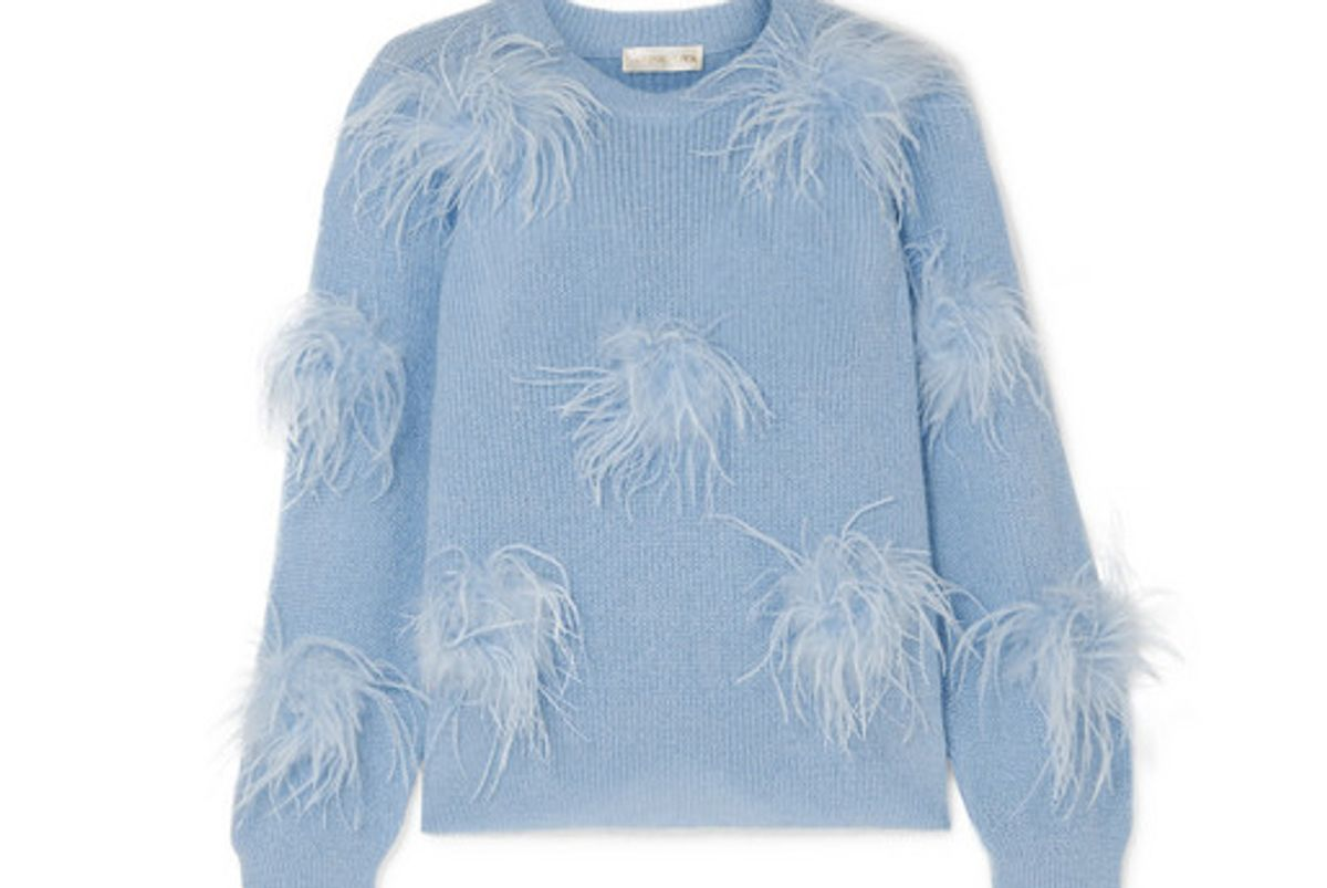 stine goya candice feather embellished knitted sweater