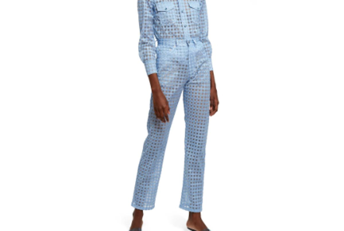 gingham sheer tulle pant