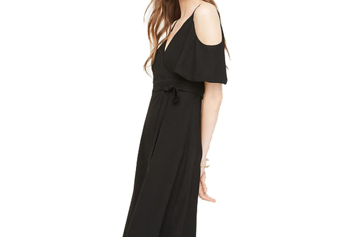 Cold Shoulder Faux Wrap Dress
