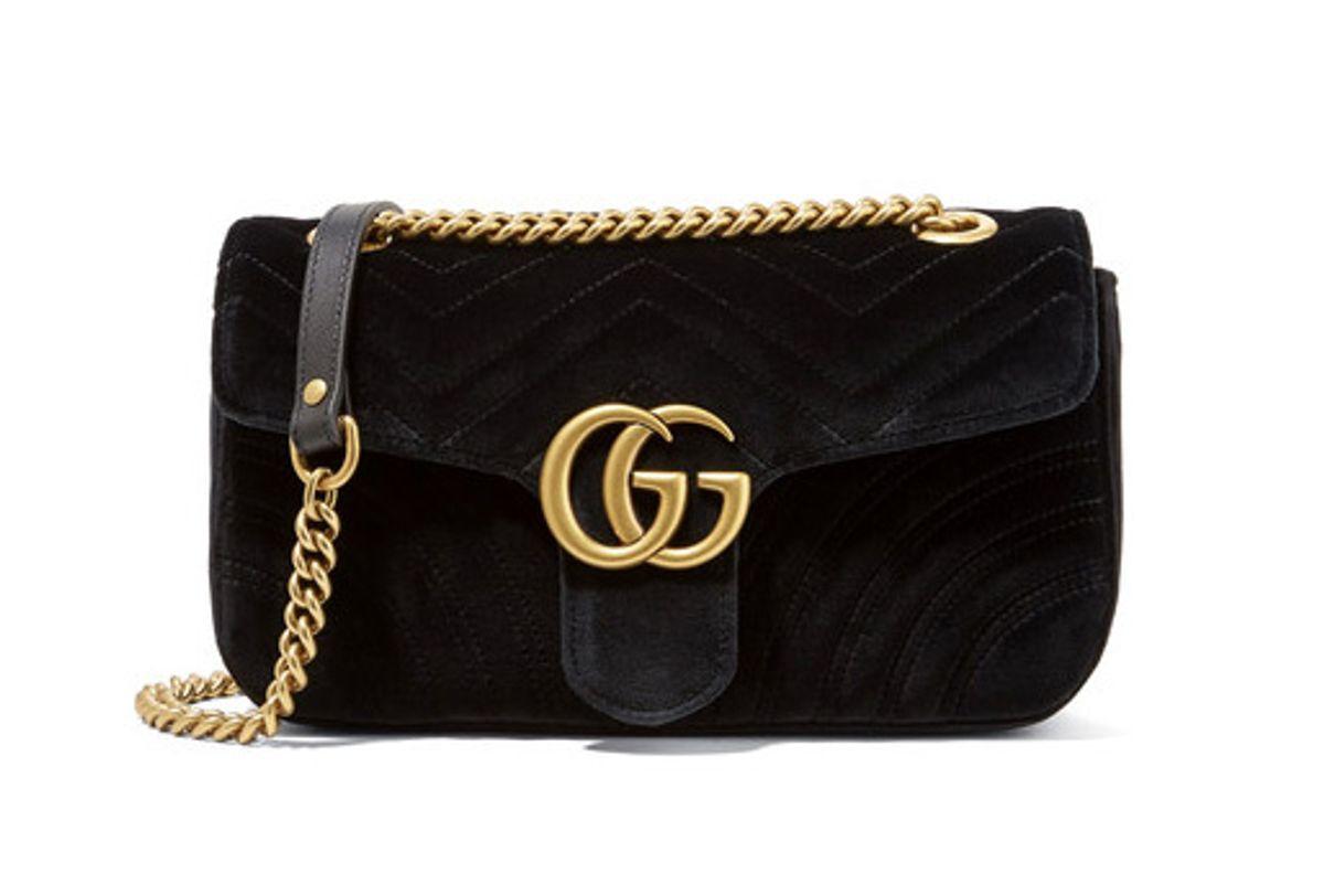 GG Marmont Small Velvet Shoulder Bag