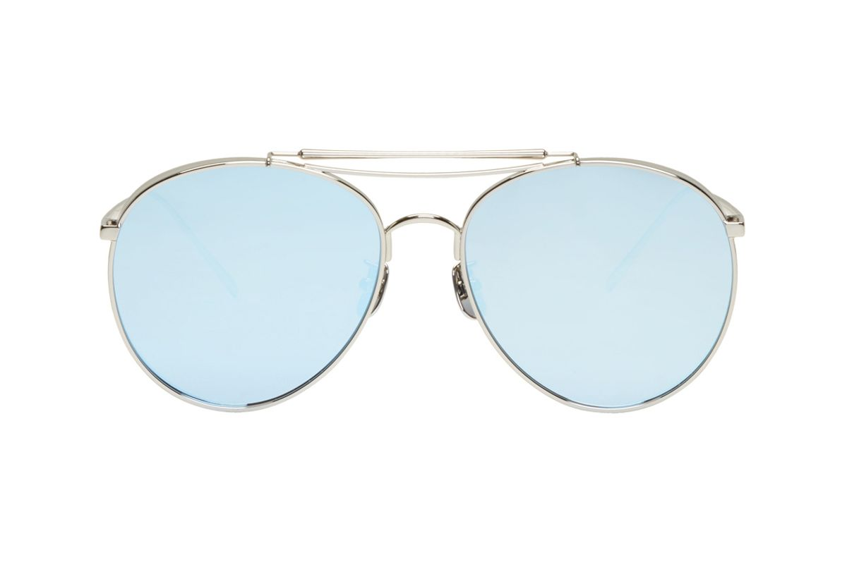Silver & Blue Big Bully Aviator Sunglasses