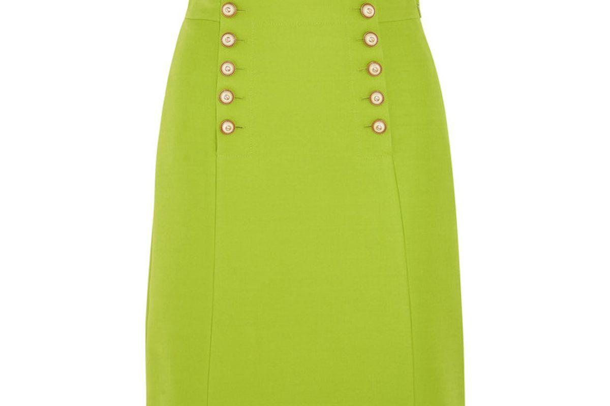 Faux Pearl-embellished Wool-crepe Mini Skirt