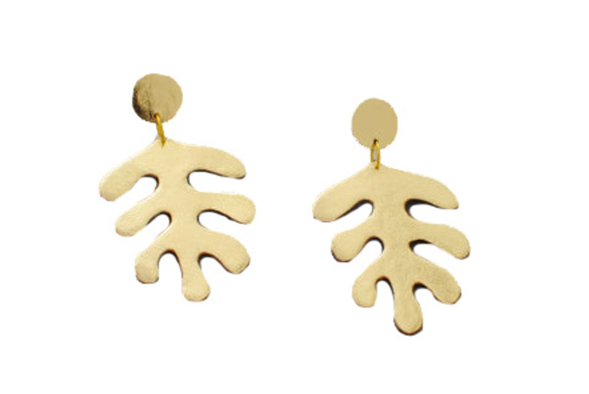 Gold Leather Matisse Inspired Earrings