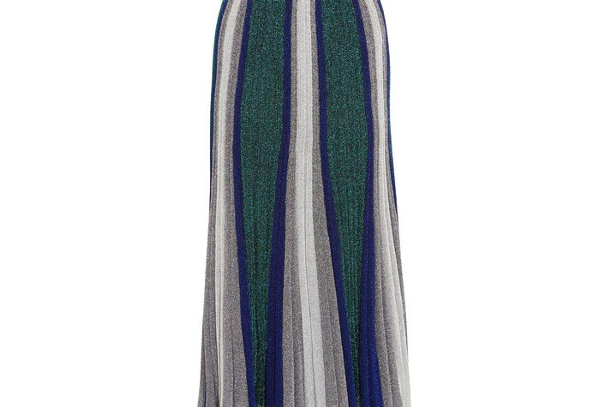 Pleated Metallic Stretch-knit Maxi Skirt