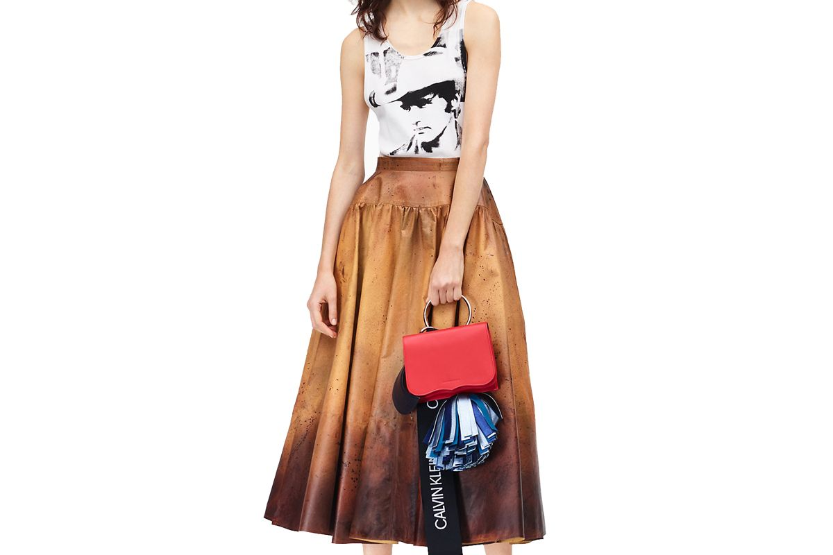 calvin klein 205w39nyc distressed leather skirt