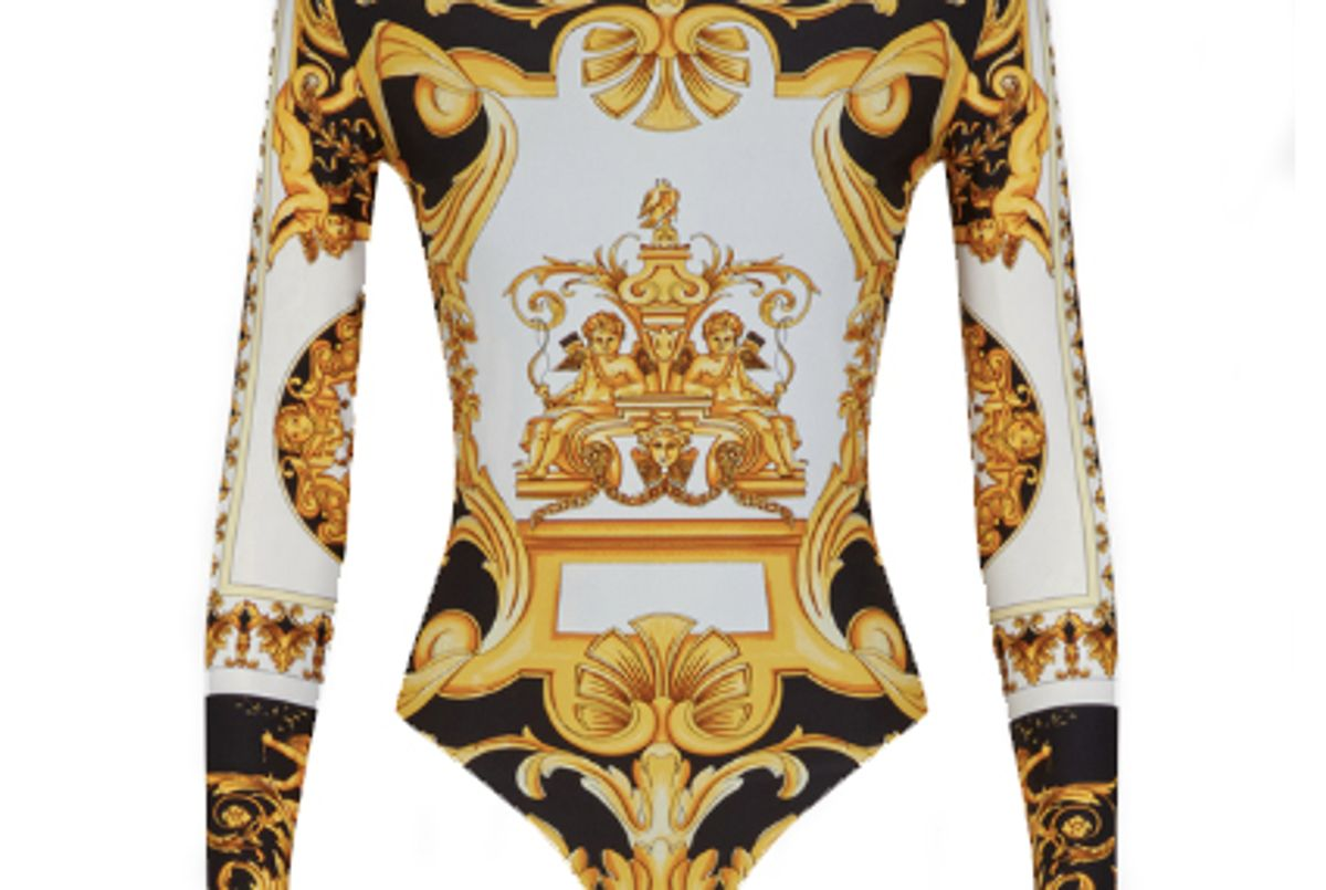 versace barocco ss 92 print bodysuit