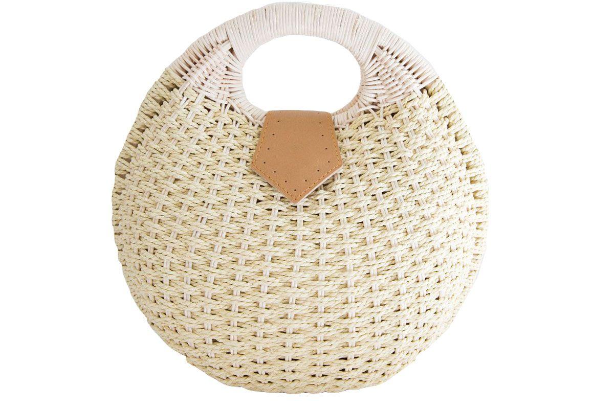 frankie shop round straw clutch bag