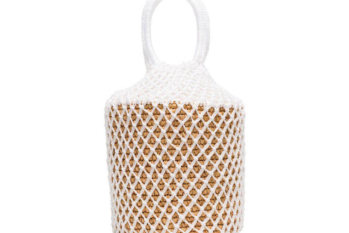sensi studio white straw and net bucket bag