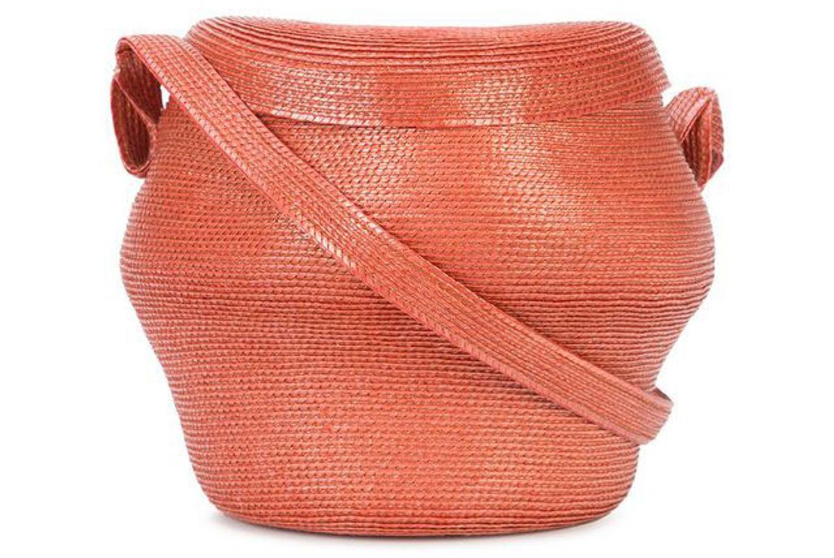 rosie assoulin straw bucket crossbody bag