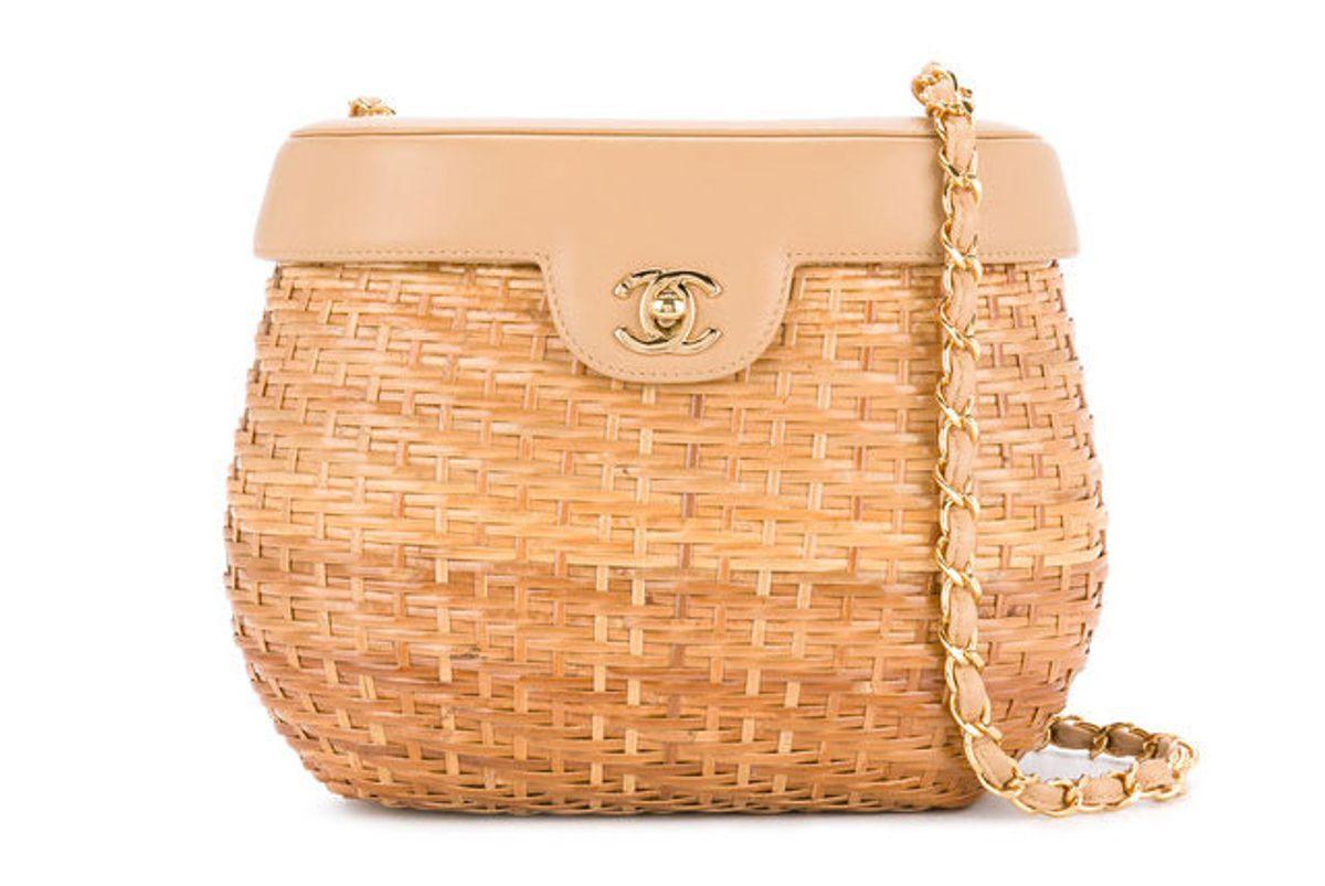 chanel vintage chain basket shoulder bag