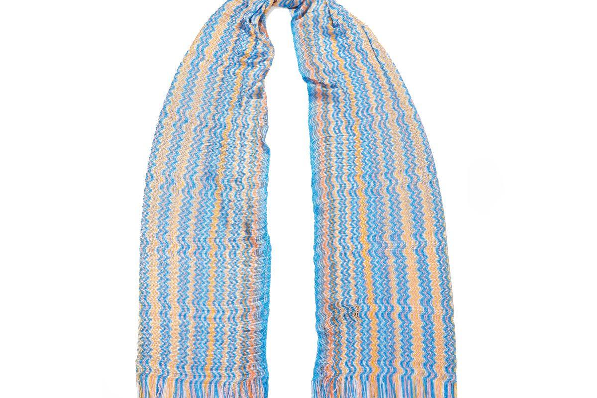 Fringed Crochet-Knit Scarf