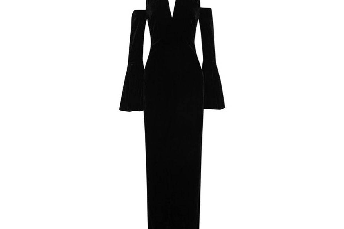 Cold-shoulder Velvet Halterneck Gown