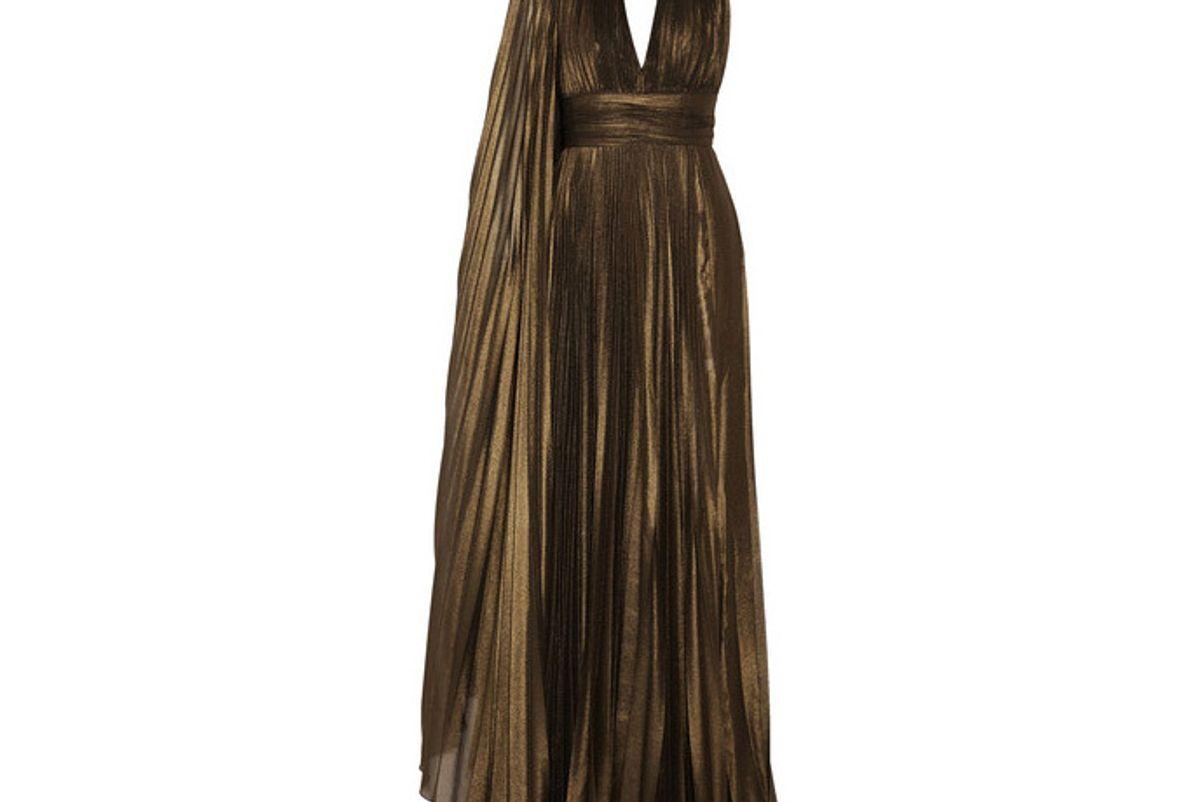 Cape-effect Plissé-georgette Gown