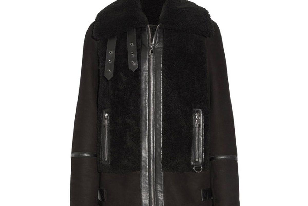 Leather-trimmed Shearling Biker Jacket