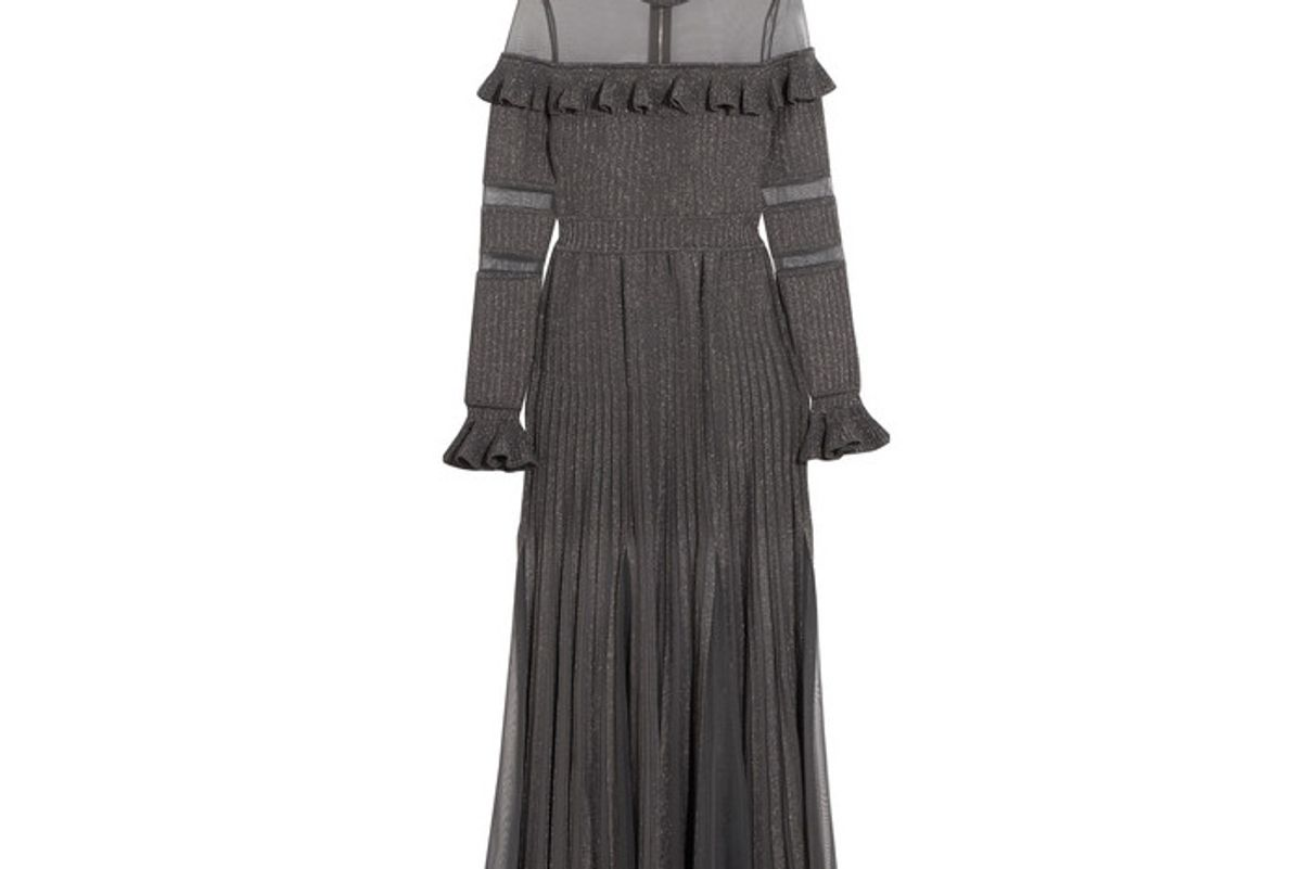 Ruffled Metallic Stretch-knit and Tulle Gown