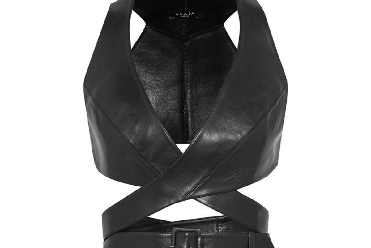 Leather Wrap Bra Top